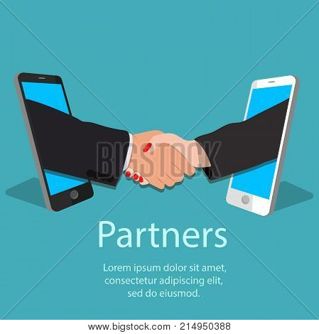 Vector illustration of mobile partnership concept. Handshake frome one mobile phone to another. Man and woman handshake. Business partners