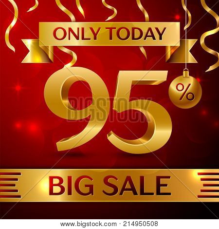 Realistic banner Merry Christmas with text Big Sale only today ninety five percent for discount on red background. Confetti, christmas ball and gold ribbon. Vector Illustration