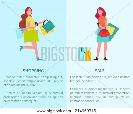 Shopping and sale set of two pictures representing smiling happy women with bags and sample text vector illustration isolated on white