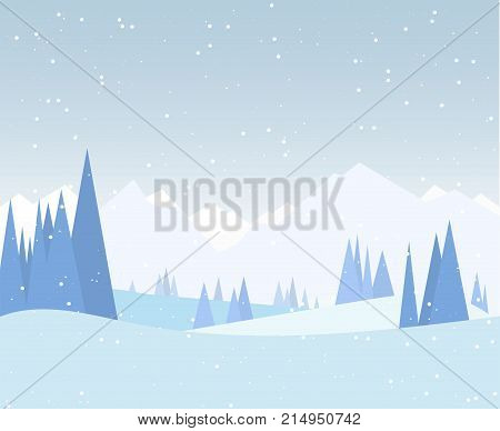 Winter forest illustration. Christmas snow nature background. Snowfall and mountains on background. Sky with snow. Forest of fir-trees. Calm winter scene.