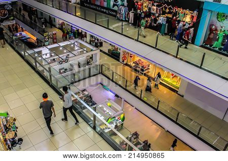Kota Kinabalu,Sabah-Nov 18,2017:View of centre mall hall of 1Borneo Hypermall also known as 1Borneo is a shopping centre in Kota Kinabalu,Sabah Borneo,Malaysia.It is the largest shopping complex in East Malaysia.