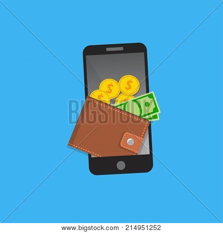 Vector Mobile wallet concept. Snarphone with wallet and credit cards on screen. Mobile or internet banking design.