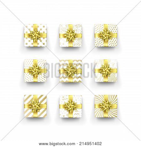 Christmas Gift Box Or Present With Golden Ribbon Bow And Wrapping Paper Zigzag Pattern. Vector Chris
