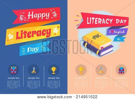 Happy Literacy Day collection of colorful posters with inscriptions. Vector illustration of ABC books and various school-related icons below