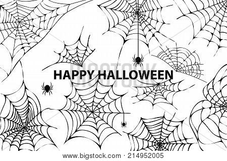 Happy halloween, image representing a lot of cobwebs and spiders in it, as well as the title, placed in centerpiece vector illustration