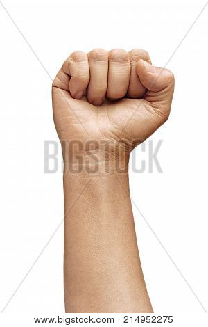 Man's hand with his closed fist. Close up. High resolution product