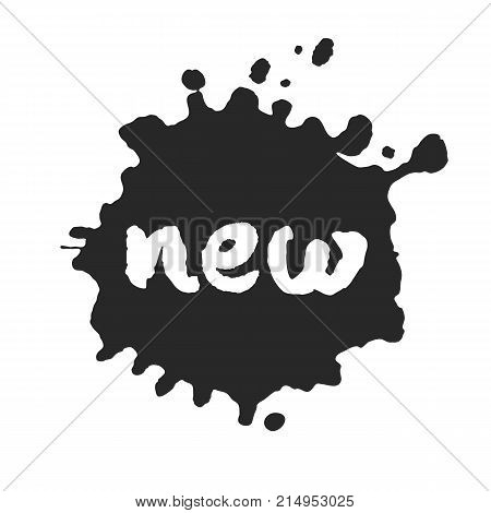 Calligraphy hand written New inside a black inky blot. Based on ink and brush artwork. Isolated on white background. Clipping paths included.