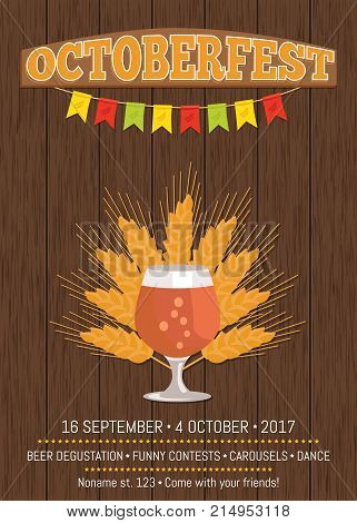 Octoberfest creative poster with snifter glass of beer in transparent glassware vector on background of ears of wheat. Dark alcohol beverage