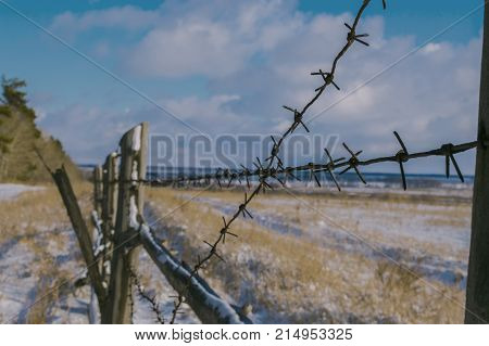 Old fence with barbed wire near the forest. Old wooden fence