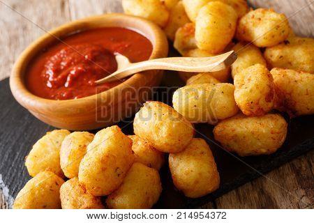 Close Up Of Rustic Golden Potato Tater Tots And Ketchup. Horizontal
