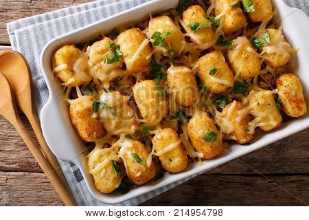 Baked Tater Tots With Ground Beef, Corn And Cheese Close-up. Horizontal Top View