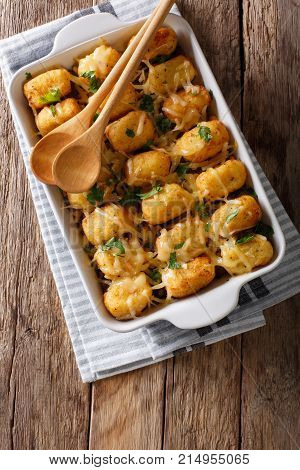Baked Tater Tots With Ground Beef, Corn And Cheese Close-up. Vertical Top View