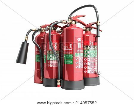Fire Extinguishers Isolated On White Background Various Types Of Extinguishers 3D Illustration No Sh