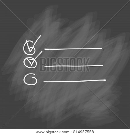 Check list vector icon. Hand drawn task list with check marks and check boxes. To do list isolated on white background. Outline. Doodle. Chalk