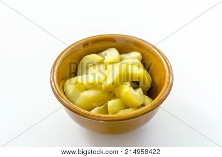 Mango Compote In Brown Bowl On White Background