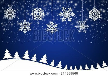 White snowflakes on an abstract blue background - illustration