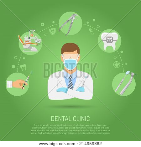 Dental Clinic Concept with flat icons dentist chair, dentist doctor, braces, cartridge syringe and dental tools. isolated vector illustration