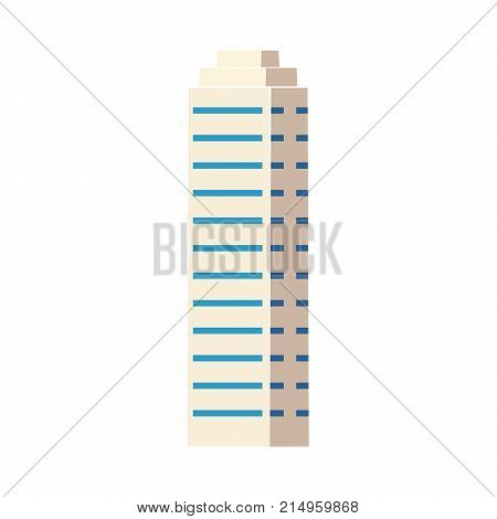 Flat isometric skyscraper, modern business center, high rise building, vector illustration isolated on white background. Flat high rise building, sky scraper, business center, modern cityscape symbol