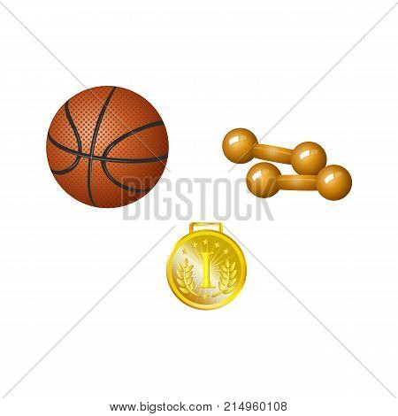Set of basketball ball, dumbbells and golden medal, realistic vector illustration isolated on white background. Realistic dumbbells, basketball ball and first place golden medal, set of sport objects