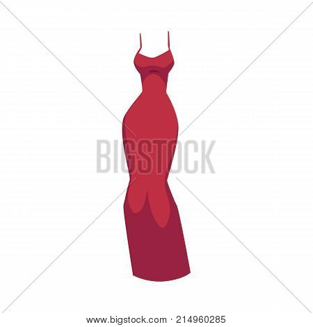 Off-the-shoulder slim fit evening gown, red dress with spaghetti straps, cartoon vector illustration isolated on white background. Cartoon long red dress, slim fit evening gown
