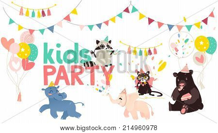 vector cartoon animals at party poster. Hippo and elephant running, cat singing at microphone, bear eats cake raccoon whistling on background of confetti, balloons and flags. Isolated illustration