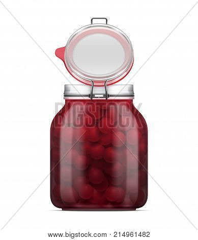 Vector open labeled Swing Top Bale Glass Jar with a rubber gasket filled with maraschino cherry in syrup. Realistic mockup illustration isolated on a white background.