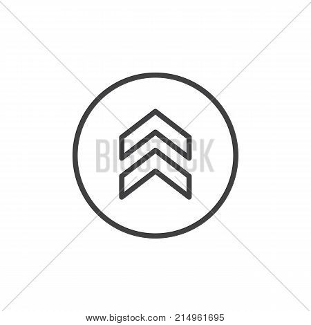 Upper arrow line icon, outline vector sign, linear style pictogram isolated on white. Two arrows pointing up symbol, logo illustration. Editable stroke