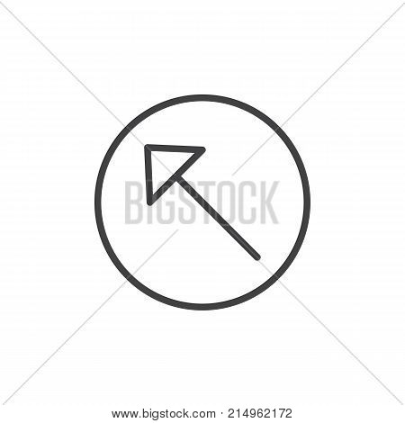 Upper left arrow line icon, outline vector sign, linear style pictogram isolated on white. Symbol, logo illustration. Editable stroke