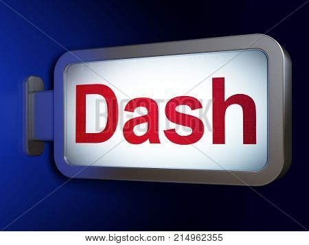 Cryptocurrency concept: Dash on advertising billboard background, 3D rendering