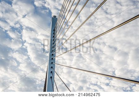 Bridge and the cable on the over cloud background