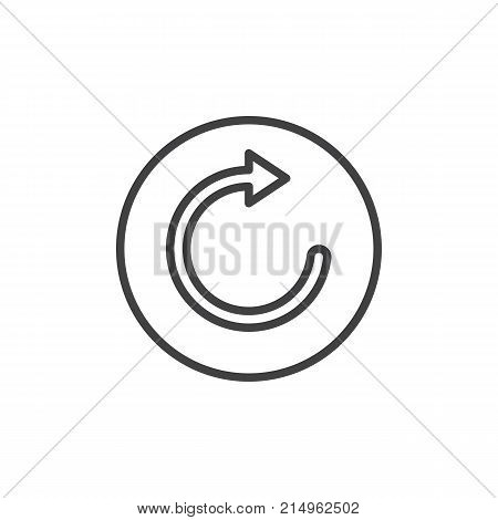 Refresh and reload arrow line icon, outline vector sign, linear style pictogram isolated on white. Repetition symbol, logo illustration. Editable stroke poster
