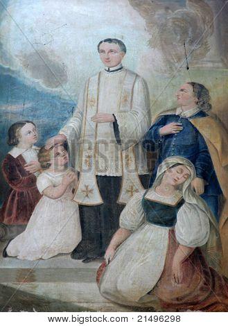 Saint John Bosco, painting on the church altar poster