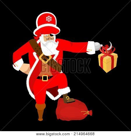 Santa Claus Pirate. Christmas Buccaneer. Gift Box. Hook And Wooden Leg. New Year. Vector Illustratio
