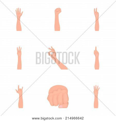 Significance of gestures cartoon icons in set collection for design.The tongue of deaf mutes vector symbol stock  illustration.