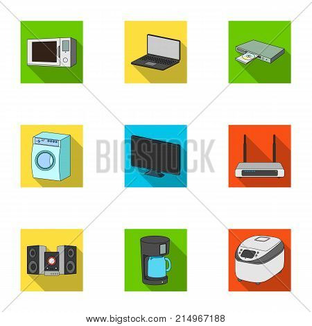 Kitchen appliances flat icons in set collection for design.Home appliances and equipment vector symbol stock  illustration.