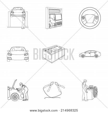 Car, lift, pump and other equipment outline icons in set collection for design. Car maintenance station vector symbol stock illustration .
