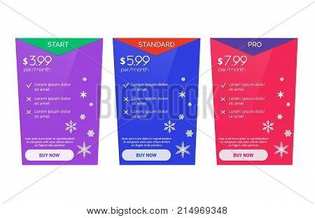 Price list, hosting plans and web boxes banners design. Three tariffs. Interface for the site. Colored Christmas banner for web app.