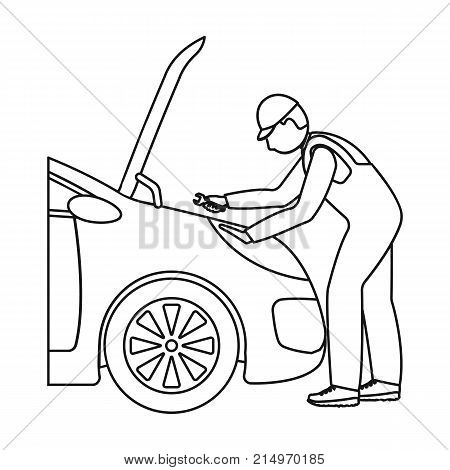 Auto mechanic and adjustment single icon in outline style for design.Car maintenance station vector symbol stock illustration .