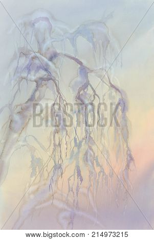 Frosty birch tree winter landscape watercolor. Christmas card background