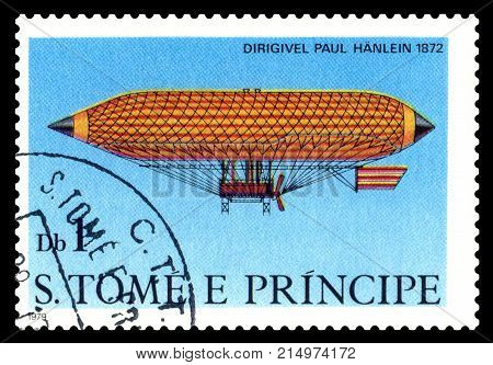 STAVROPOL RUSSIA - November 11.2017: A stamp printed in Sao Tome and Principe shows an Dirigible Paul Hanlein 1872 cirka 1979