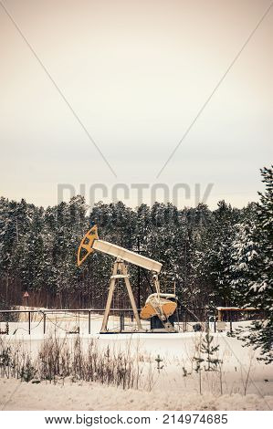 Pump Jack And Oil Rig Situated In Forest.