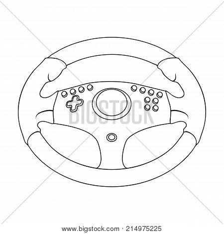Game steering wheel single icon in outline style for design.Car maintenance station vector symbol stock  illustration.