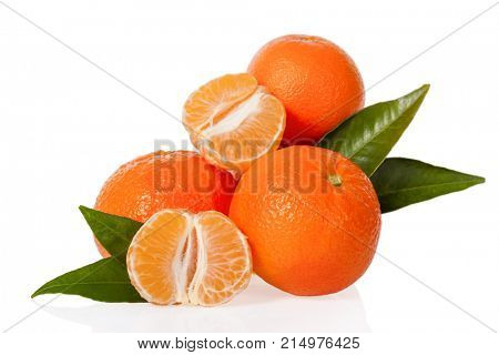 Orange Mandarines, Clementines, Tangerines or small oranges with one peeled and cut in half with leaves isolated on white background, cut out or cutout