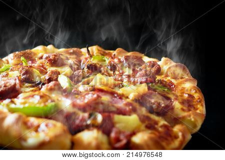 Pizza With Cheese Ham Bacon And Pepperoni On Isolated White Background With Hot Steaming Smoke. Food