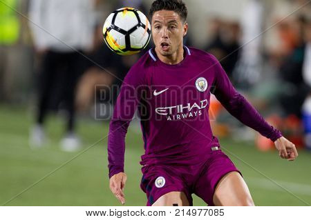LOS ANGELES, CA - JULY 26: Samir Nasri during the 2017 International Champions Cup game between Manchester City and Real Madrid on July 26th 2017 at the Los Angeles Memorial Coliseum.