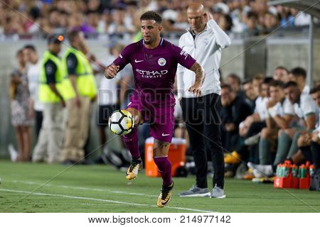 LOS ANGELES, CA - JULY 26: Kyle Walker during the 2017 International Champions Cup game between Manchester City and Real Madrid on July 26th 2017 at the Los Angeles Memorial Coliseum.