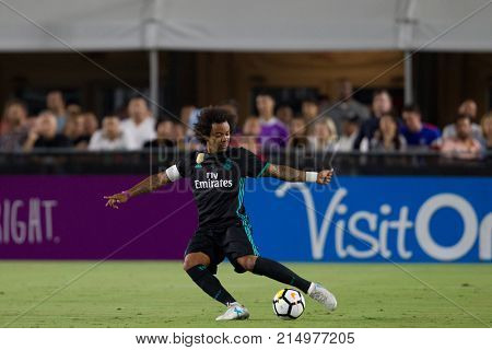 LOS ANGELES, CA - JULY 26: Marcelo during the 2017 International Champions Cup game between Manchester City and Real Madrid on July 26th 2017 at the Los Angeles Memorial Coliseum.
