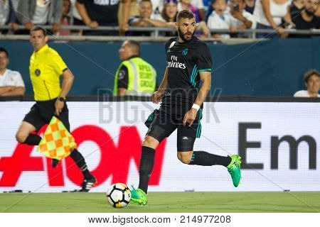 LOS ANGELES, CA - JULY 26: Karim Benzema during the 2017 International Champions Cup game between Manchester City and Real Madrid on July 26th 2017 at the Los Angeles Memorial Coliseum.