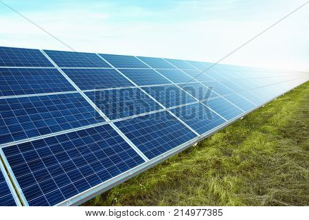 Solar panels installed outdoors