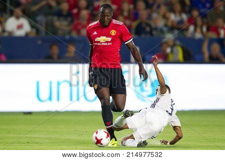 CARSON, CA - JULY 15: Romelo Lukaku & Ashley Cole during Manchester United's summer tour friendly against the L.A. Galaxy on July 15th 2017 at the StubHub Center.
